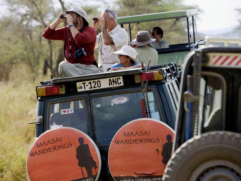 Auf unserer Rundreise durch Tansaia fahren wir  in guten Geländefahrzeugen japanischer Hersteller durch die Serengeti. In jedem Wagen sitzen maximal sechs Gäste - damit ist für jeden ein Fensterplatz garantiert! Und für schöne Fotos lässt sich überall das Dach hochklappen.