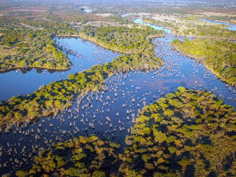 Auf unserer Rundreise durch Botswana fliegen wir  von Khwai nach Maun und blicken aus der Luft auf das Okavangodelta.