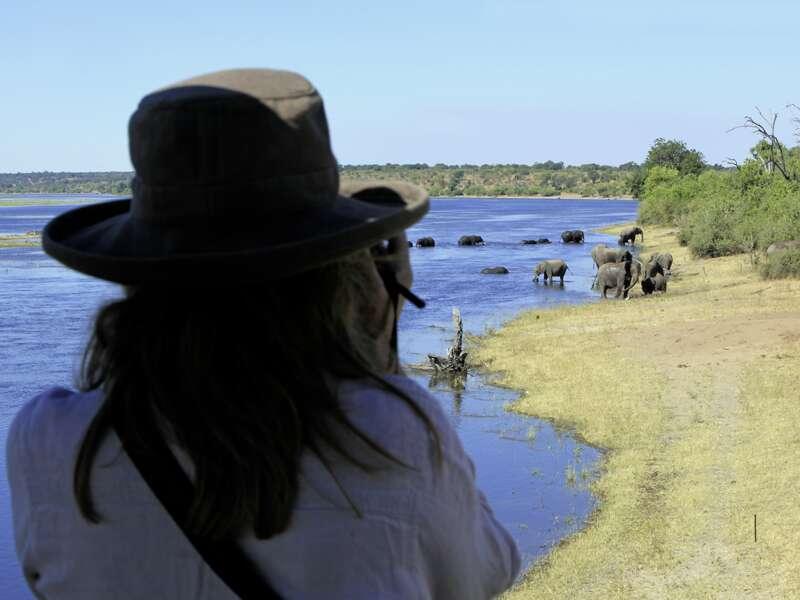 Am Chobe-Fluss haben wir gute Sicht auf Tierherden, vor allem auf Elefanten. Der Nebenfluss des Sambesis ist eine wichtige Lebensader. Wir gehen mit dem Boot auf die Pirsch zur Beobachtung der vielen Tiere.