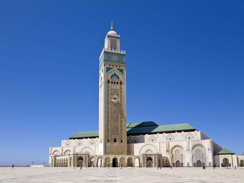 Bei unserer Studienreise nach Marokko sehen wir in der Nähe von Casablanca die Moschee Hassan II.