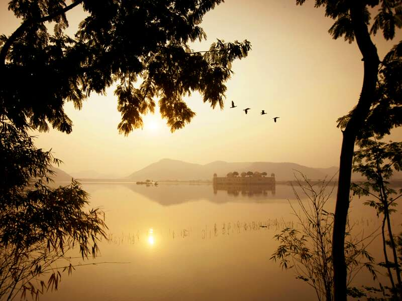 Auf unserer Studienreise Rajasthan mit Flair erleben wir viele magische Momente. Der Wasserpalast Jal Mahal im Man Sagar Lake bei Jaipur scheint im Glanz der untergehenden Sonne auf dem Wasser zu schweben.