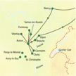 Karte mit den Stops auf der Reise Burgund mit Muße