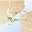 Stadtplan von Istanbul mit Hotelstandort und wichtigen Sehenswürdigkeiten