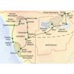 Route der Studienreise durch Nambia und Botswana zu den Viktoriafällen