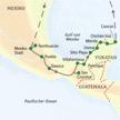 Reiseroute unserer Studienreise durch Mexiko