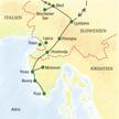 Reiseroute der Studienreise mit Muße nach Slowenien und Istrien