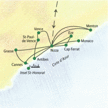 Reiseroute der KlassikStudienreise Cote d'Azur - Nizza & mehr