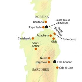 Standorte und Ausflugsziele auf Ihrer smart&small-Reise nach Sardinien