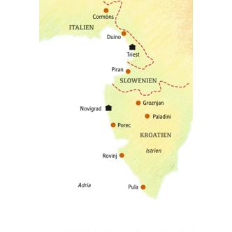 Reiseroute Kleingruppe Triest-Istrien