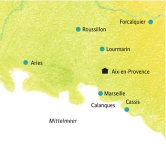 Route der Studienreise Provence: Savoir-vivre in Aix-en-Provence