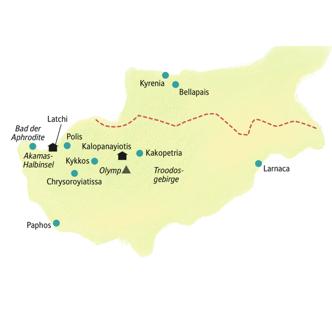 Reiseroute der smart & small-Reise Zypern - wo Aphrodite dem Meer entstieg