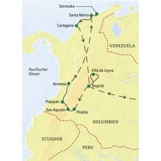 Unsere Reiseroute durch Kolumbien