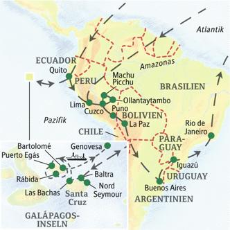 Unsere Reiseroutef durch Südamerika