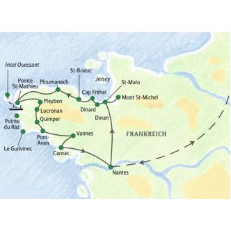 Bretagne Atem des Meeres - Überblickskarte der Studienreise