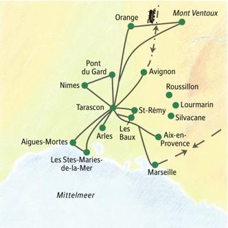 Karte der Stops auf der Studienreise mit Muße