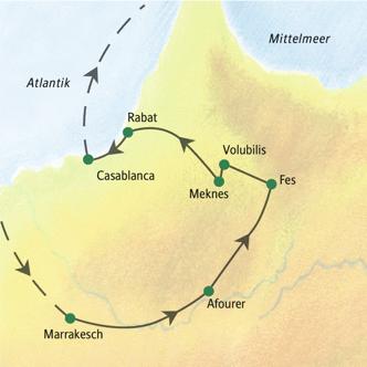 Route der Studienreise Marokko: Königsstädte