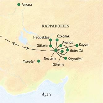 Unsere Reiseroute in Kappadokien