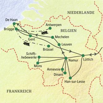 Karte der Highlights Flandern und Wallonien