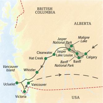 Reiseroute mit Höhepunkten im Westen Kanadas