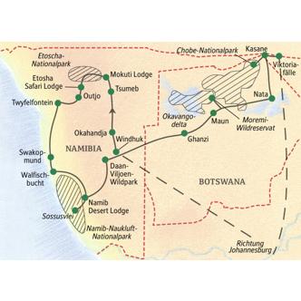Route der Studienreise Namibia und Botswana: Wunder der Natur