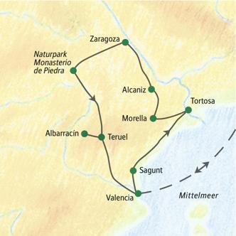 Unsere Reiseroute durch Valencia und Aragonien