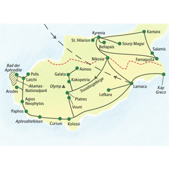 Reiseroute der WanderStudienreise Zypern - Kultur und Natur aktiv erwandern