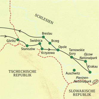 Schlesien und Krakau mit Muße - unsere Reiseroute