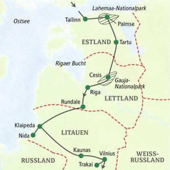Klassik-Studienreise ins Baltikum - die Route