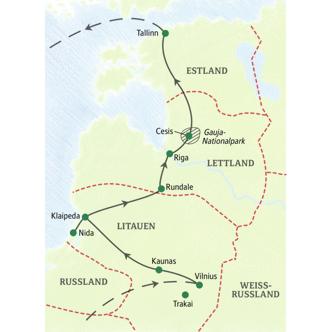Neuntägige PreisWert-Studienreise Baltikum - die Route