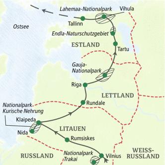 Elftägige WanderStudienreise - die Route