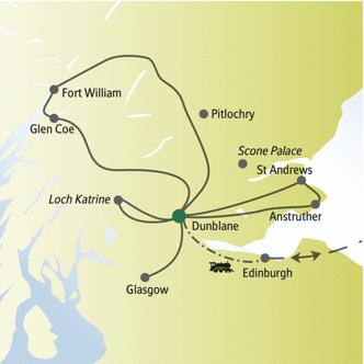 Reiseroute der me&more-Rundreise Schottland