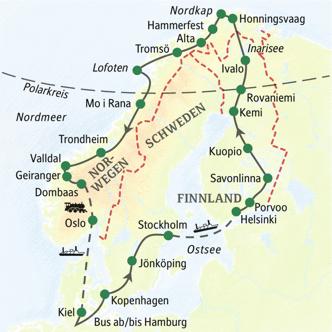 Reiseverlaufskarte der Studienreise mit dem Komfortbus durch Skandinavien