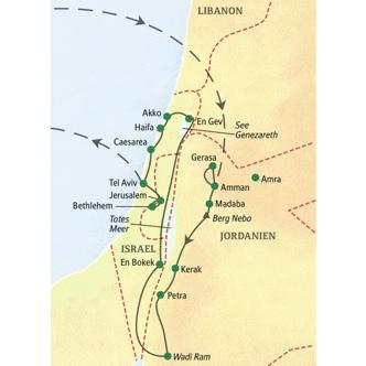 Reiseroute der Studienreise große Nahostreise