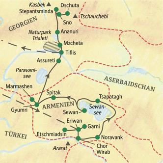 Reisekarte der Studiosus WanderStudienreise Armenien-Georgien