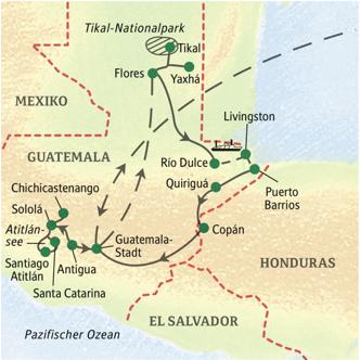 Route unserer Studienreise durch Guatemala mit einem Abstecher nach Honduras