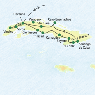 Route der umfassenden Studienreise nach Kuba