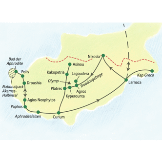Reiseroute unserer Wanderreise nach Zypern
