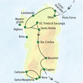 Reiseroute der Studienreise Sardinien - mit Muße