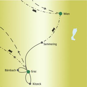Reiseroute der Rundreise Wien & Steiermark