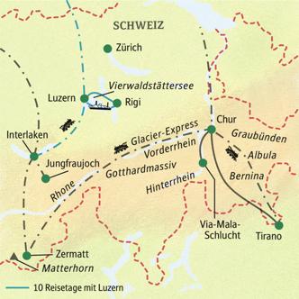 Reiseroute der Studienreise Schweiz - Bernina- und Glacier-Express