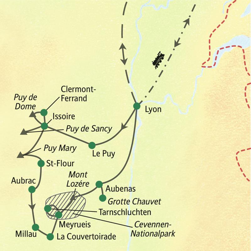Cevennen Karte.Auvergne Cevennen Wandern Im Herzen Frankreichs St 0663f