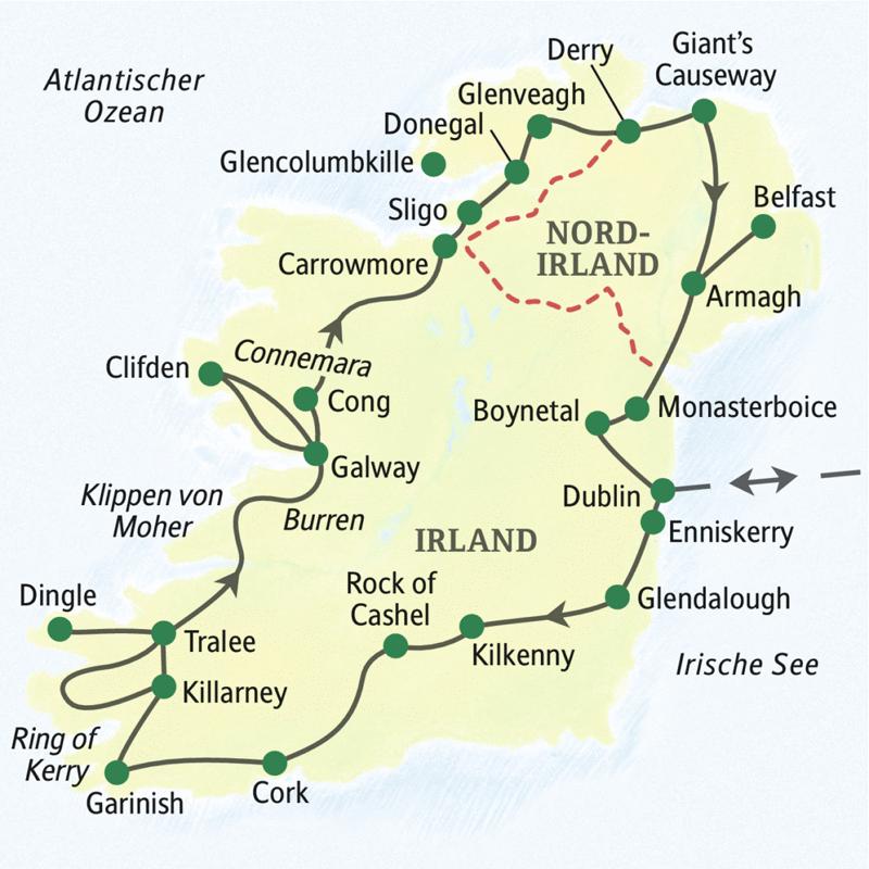 irland karte mit sehenswürdigkeiten Irland – die umfassende Reise (ST 1205) :: Studiosus Studienreise  irland karte mit sehenswürdigkeiten