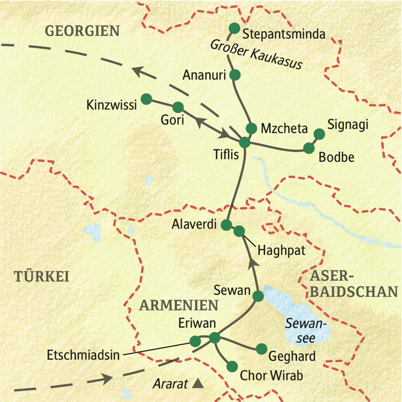 Armenien Karte.Klassikstudienreise Mit Studiosus Armenien Georgien Kloster Und Kultur Im Kaukasus