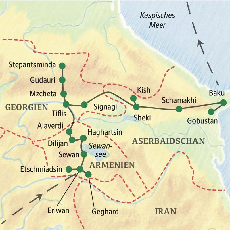 Baku Aserbaidschan Karte.Studienreise Mit Studiosus Sudkaukasus Armenien Georgien Aserbaidschan