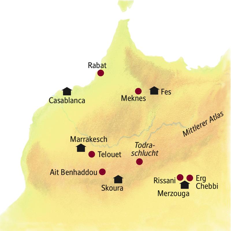 Unsere Rundreise durch Marokko startet in Casablanca und führt über Fes, den Erg Chebbi und Skoura nach Marrakesch.