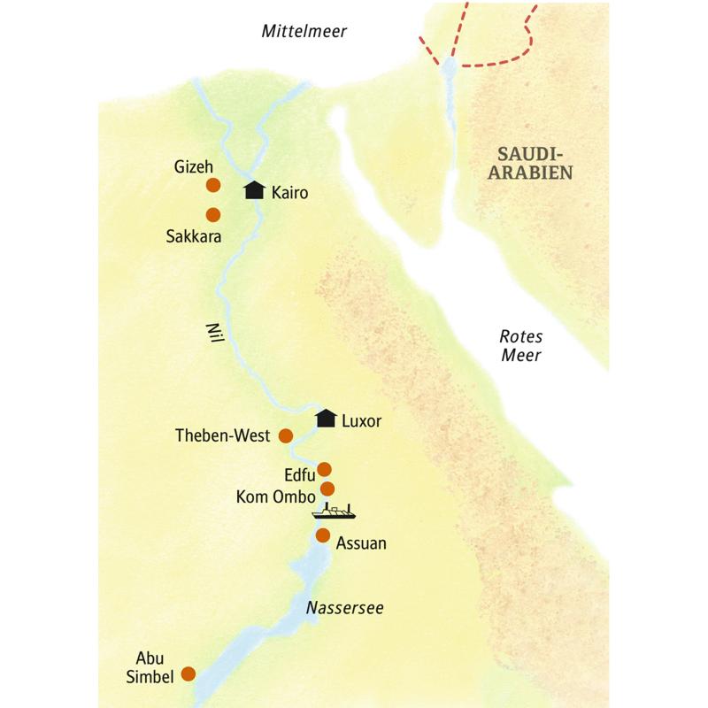 Auf dieser Reise nach Ägypten logieren Sie in Kairo, Luxor und auf einem Nilschiff.