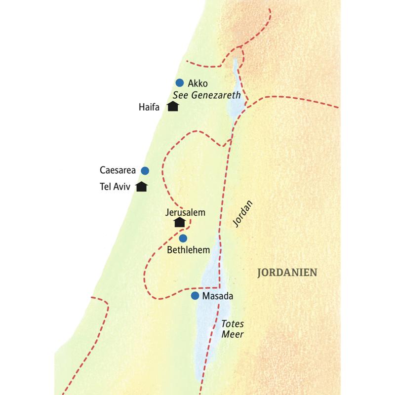Diese Rundreise führt vom Sandstrand in Tel Aviv bis an die Klagemauer von Jerusalem.