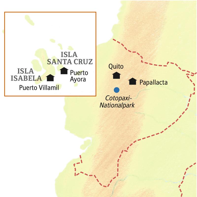Unsere Reiseroute durch Ecuador und ins Naturparadies Galápagos beginnt in Quito und führt weiter in die Höhe nach Papallacta, bevor wir mit dem Boot ins Inselreich gelangen.