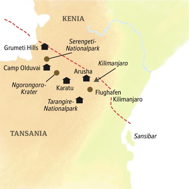 Auf unsere Reiseroute durch Tansania liegt der Ngorongoro-Krater und der Serengeti-Nationalpark.