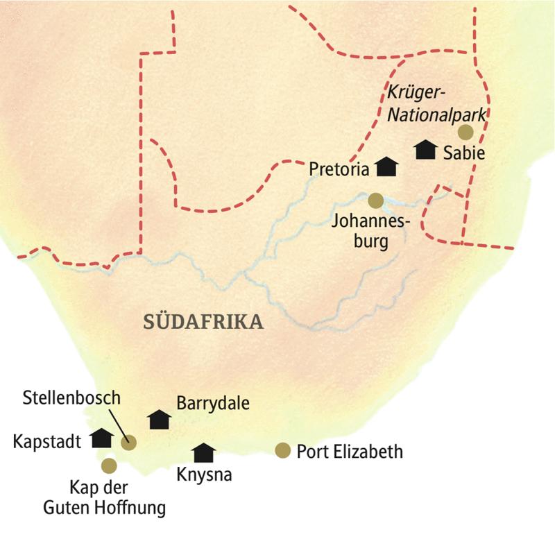 Zwei Wochen Zeit für die Höhepunkte Südafrikas: Die Rundreise Südafrika - traumhafte Szenen führt in den Krüger-Nationalpark, nach Johannesburg, Pretoria, Kapstadt und auf die Gartenroute.